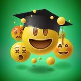 Concepto para la graduación, grupo de emoticons sonrientes Imágenes de archivo libres de regalías