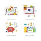 Concepto para la protección de datos, márketing móvil, estrategia financiera, inversión elegante Fotos de archivo