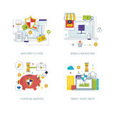 Concepto para la protección de datos, márketing móvil, estrategia financiera, inversión elegante Foto de archivo libre de regalías