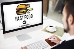 Concepto para llevar de las calorías de la comida de los desperdicios de la hamburguesa de la comida rápida imágenes de archivo libres de regalías