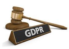 Concepto para los pleitos y la aplicación legal de la ley de la privacidad de datos de GDPR en Europa, representación 3D Imagen de archivo libre de regalías
