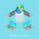 Concepto para los sistemas de base de datos en línea stock de ilustración