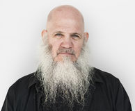 Concepto pensativo largo adulto de la cabeza calva de la barba de los hombres Fotos de archivo