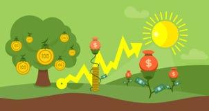 Concepto plano capital de las finanzas del diseño del cultivo ilustración del vector