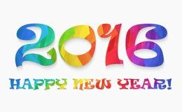 Concepto plano colorido del ejemplo del vector del diseño de la Feliz Año Nuevo 2016 Foto de archivo libre de regalías