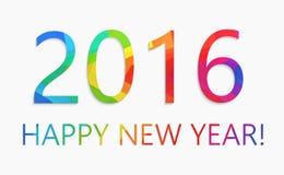 Concepto plano colorido del ejemplo del vector del diseño de la Feliz Año Nuevo 2016 Imagen de archivo libre de regalías