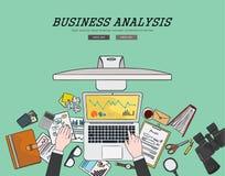 Concepto plano de dibujo del análisis de negocio del ejemplo del diseño Conceptos para las banderas del web y los materiales prom stock de ilustración