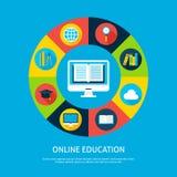 Concepto plano de Infographic de la educación en línea Imagen de archivo libre de regalías