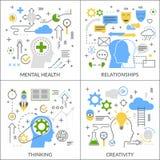 Concepto plano de la actividad mental stock de ilustración