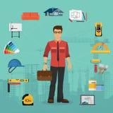 Concepto plano de la arquitectura y de la construcción con los iconos Imagenes de archivo