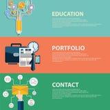 Concepto plano de la cartera, del contacto y de la educación del negocio del estilo Plantillas de las banderas del web fijadas Foto de archivo