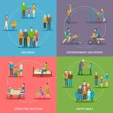 Concepto plano de la familia feliz stock de ilustración