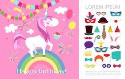 Concepto plano de la fiesta de cumpleaños libre illustration