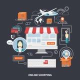 Concepto plano de las compras del diseño del vector Fotografía de archivo libre de regalías