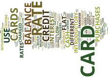 Concepto plano de Rate Credit Cards Word Cloud Foto de archivo