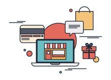 Concepto plano del ejemplo de las compras en línea