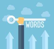 Concepto plano del ejemplo de las palabras claves de SEO