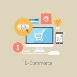 Concepto plano del ejemplo del comercio electrónico