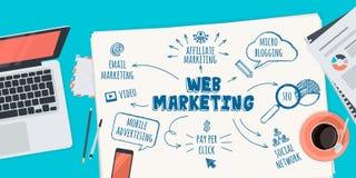Concepto plano del ejemplo del diseño para el márketing del web Imágenes de archivo libres de regalías