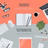 Concepto plano del ejemplo del diseño para la educación Imagen de archivo