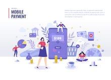 Concepto plano del ejemplo del pago móvil libre illustration