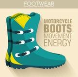 Concepto plano del fondo de los zapatos de las botas de motocicleta Imagen de archivo libre de regalías