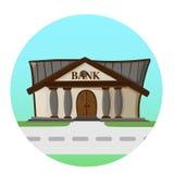 Concepto plano del fondo del estilo del camino del edificio de banco stock de ilustración