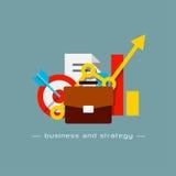 Concepto plano del negocio y de la estrategia Foto de archivo libre de regalías