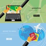 Concepto plano del vector de World Travel y de turismo Fotos de archivo libres de regalías