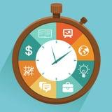 Concepto plano del vector - gestión de tiempo Imagen de archivo libre de regalías