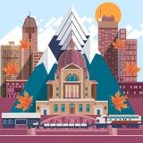 Concepto plano del viaje del diseño de los iconos de Canadá Fachadas de casas tradicionales Ilustración del vector Imagenes de archivo