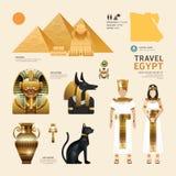 Concepto plano del viaje del diseño de los iconos de Egipto Vector Fotografía de archivo libre de regalías