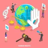 Concepto plano isométrico del vector de derechos civiles y humanos, movimiento de los voluntarios ilustración del vector