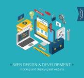 Concepto plano programado 3d de la maqueta de la codificación del desarrollo del diseño web Fotografía de archivo