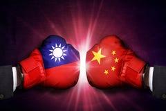 Concepto político y comercial del conflicto entre Taiwán y China imagen de archivo