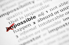 Concepto posible con la palabra imposible Foto de archivo libre de regalías