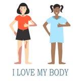 Concepto positivo del cuerpo con diseño plano Fotografía de archivo libre de regalías