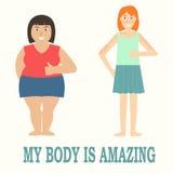 Concepto positivo del cuerpo con diseño plano Fotos de archivo