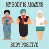 Concepto positivo del cuerpo con diseño plano Imagenes de archivo
