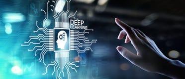 Concepto profundo de la tecnolog?a del AI de la inteligencia artificial del aprendizaje de m?quina en la pantalla virtual imágenes de archivo libres de regalías