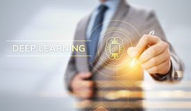 Concepto profundo de la tecnolog?a de inteligencia artificial del aprendizaje de m?quina Hombre de negocios que se?ala en la pant ilustración del vector