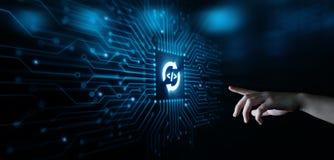Concepto programado de la red de la tecnología de Internet del negocio de la codificación que se convierte foto de archivo
