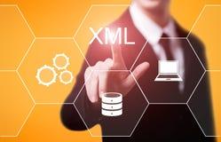 Concepto programado de la tecnología de Internet del desarrollo web del código de XML imagen de archivo