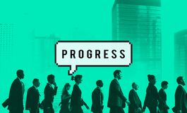 Concepto progresivo del desarrollo de la progresión del progreso fotos de archivo