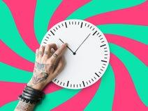 Concepto puntual de la duración del calendario del tatuaje segundo Foto de archivo libre de regalías
