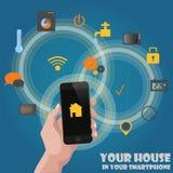 Concepto que controla de los detectores caseros elegantes vía el teléfono Fotografía de archivo libre de regalías