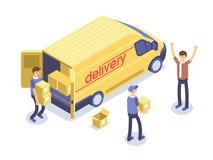 Concepto rápido de la salida Cajas de Van, del hombre y de cartón Mercancías del producto que envían transporte Ejemplo isométric libre illustration