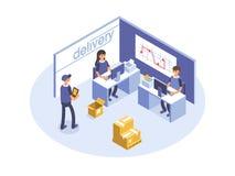 Concepto rápido de la salida Oficinistas, operadores logísticos Mercancías del producto que envían transporte Ejemplo isométrico  Foto de archivo