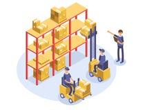 Concepto rápido de la salida Warehouse, cargador, hombre, trabajadores Mercancías del producto que envían transporte Ejemplo isom ilustración del vector