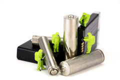 Concepto: reciclaje de la batería Fotografía de archivo